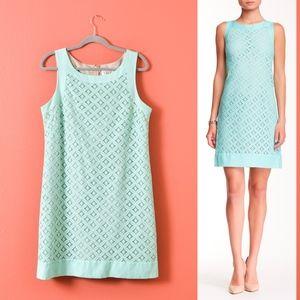 Eliza J Sleeveless Lace Shift Light green Dress 14